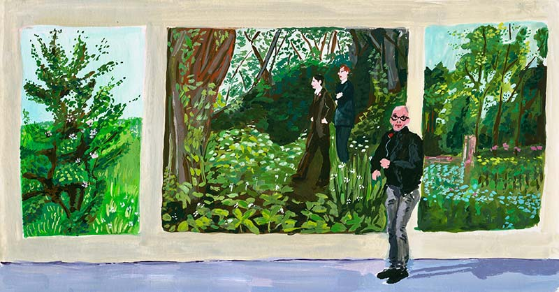 "Ate in front of one of ""The Paintings"" (with Us in the nature), by Gilbert & George, in the Kröller-Müller Museum."