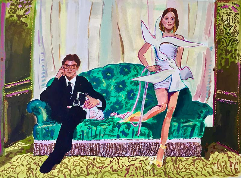 Yves Saint Laurent and Carla Bruni, after a photo by Jean-Marie Périer.